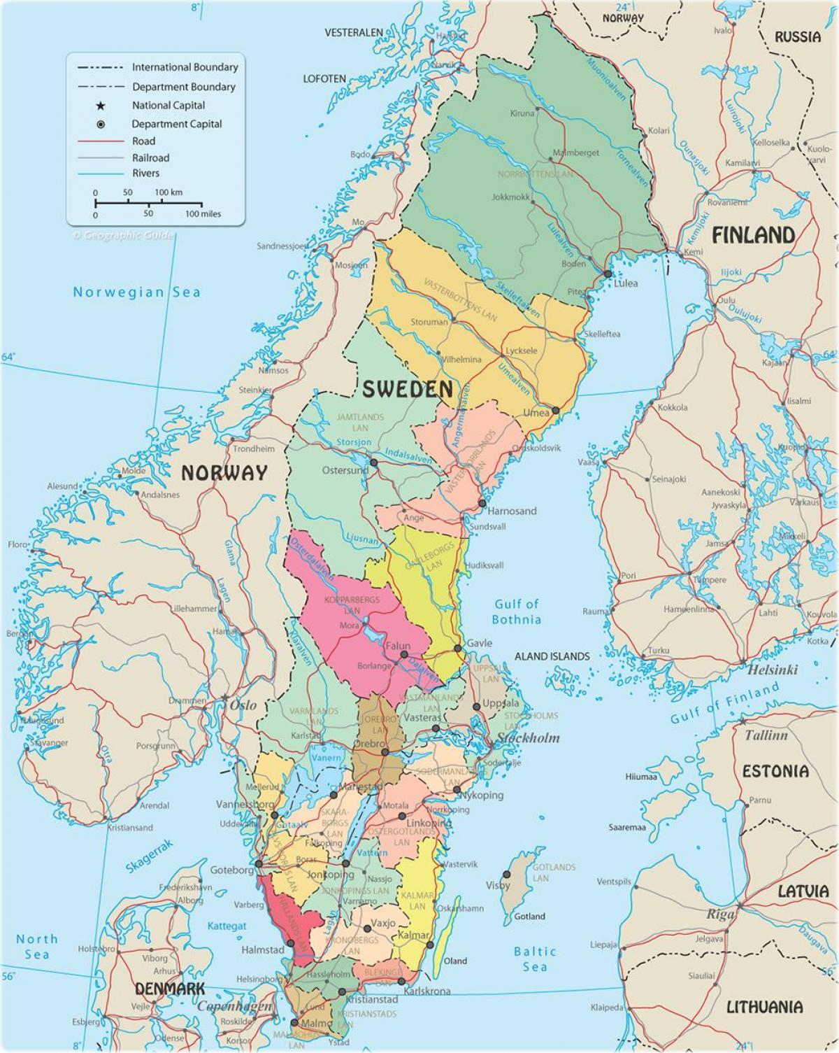 Mapa Politico De Suecia.Suecia Mapa Politico Mapa Politico De Suecia Norte De